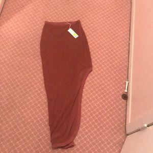Mesh beach skirt with a slit